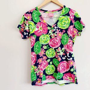 Simply Southern Short Sleeve V Neck Floral T-shirt